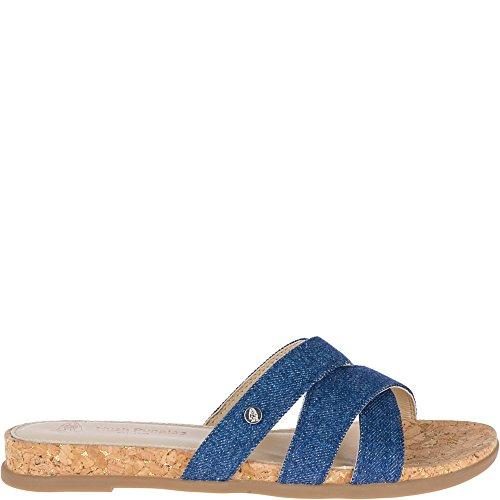 Hush Puppies Women's Dalmatian Slide Wedge Sandal, Blue Denim, 10 M US (Leather Wedges Denim)
