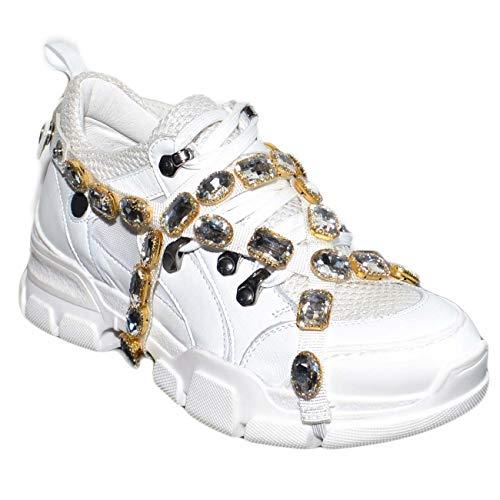 E Bianca Applicazioni Vera Bassa Catena Disruptor Con Pelle Swarosky Sneakers Rimovibili Donna Fondo Alto Zz6qwt