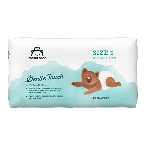 Amazon Brand – Mama Bear Gentle Touch Diapers, Size 1, Assorted Print, 49 Count