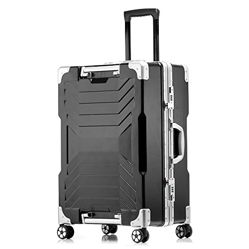 Aluminum frame and PC shell Anti-scratch trolley luggage 20'' carry on 24'' 29'' checked luggage suitcase (29 inch, Black) by sindermore