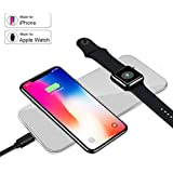 Apple Watch Charger, VRURC iPhone Wireless Charger, Ultra-thin 2 in 1 Wireless Charger for Apple Watch Series 1/2/3, iPhone X, iPhone 8/8 Plus, Samsung Galaxy S9/S8/S7/Note 8 and More