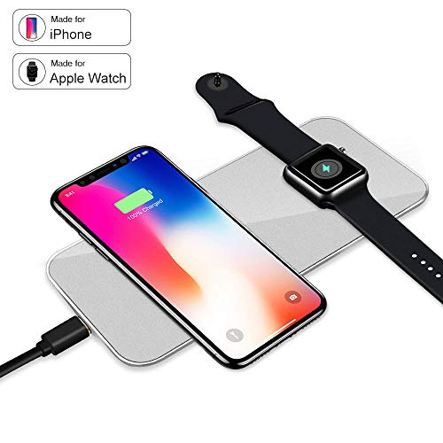 VRURC Magnetic Wireless Charger for Apple Watch, 2-in-1 Pad Stand Cable Compatible with iWatch Series 1/2/3, 38mm 42mm, for iPhone X/8/8 Plus, for Samsung S8/Note 8 by VRURC