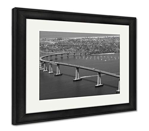 (Ashley Framed Prints Panoramic View of San Diegos Coronado Bay Bridge, Wall Art Home Decoration, Black/White, 26x30 (Frame Size), Black Frame, AG5596843)