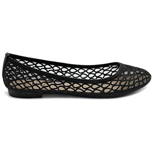 ... Ollio Kvinners Sko Mesh Glitter Komfort Ballet Flat Style2-svart