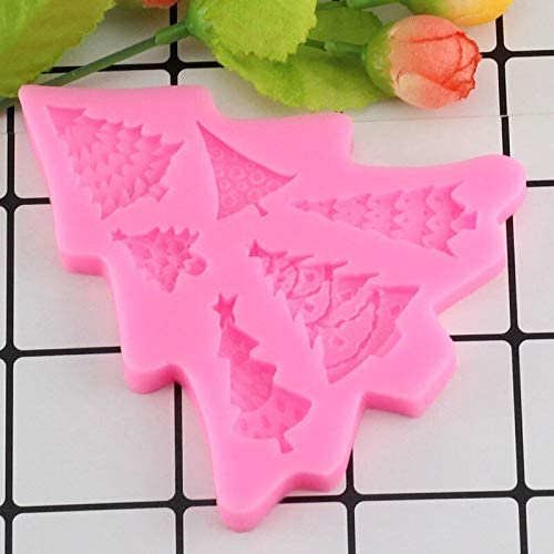 N //A Fondant Cake Silicone Mold Christmas Tree Leaf Shape Biscuits Mould DIY Kitchen Baking Cake Decoration Tool Mold