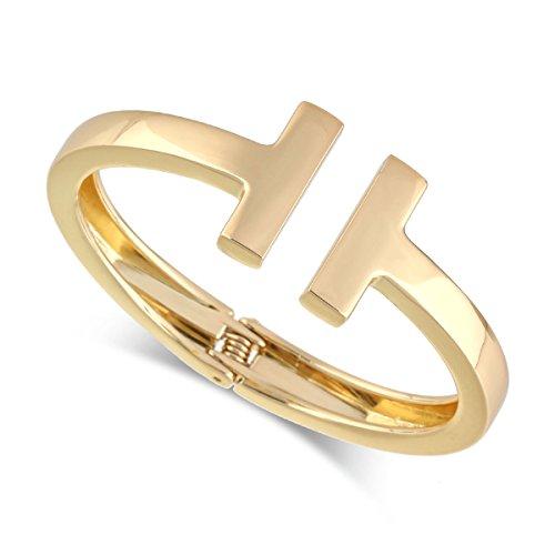 - Fashion Bracelets Metal Double T Style Charm Uncompacted Bracelet for Women | Girl's Cuff Bracelet