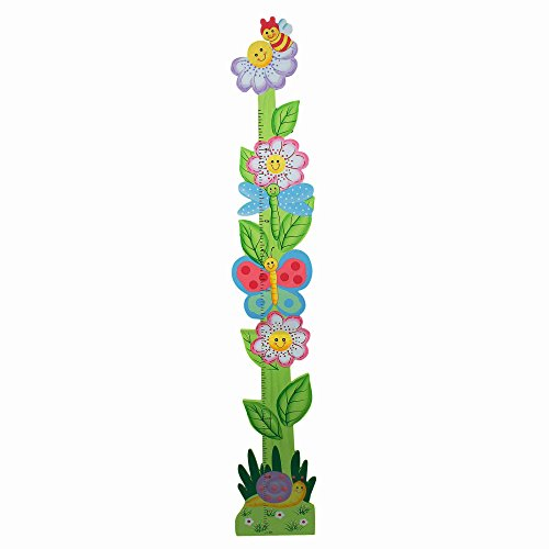 Fantasy Fields - Magic Garden Thematic Kids Wooden Growth Chart | Imagination Inspiring Hand Painted Details | Non-Toxic, Lead Free Water-based (Garden Hand Painted Wall Letters)