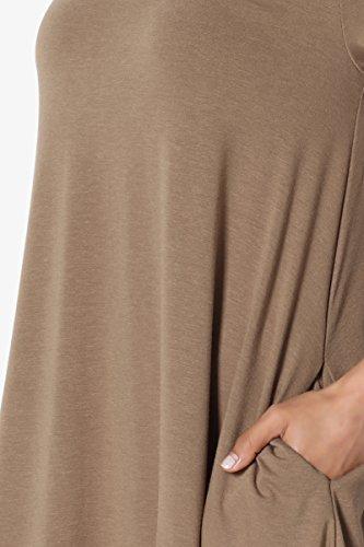 Crew Short Dress S~3X Tunic TheMogan Short Basic Neck Mocha Trapeze Mini Pocket Sleeve xSw8Pwq