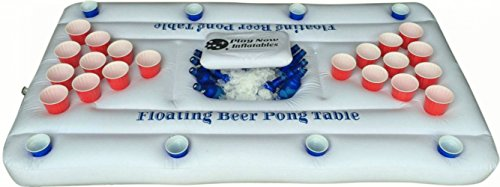Inflatable Beer Pong Table with Cooler including 6 Ping Pong Balls - White - 6-Feet - Floating Beer (Beer Chicks)