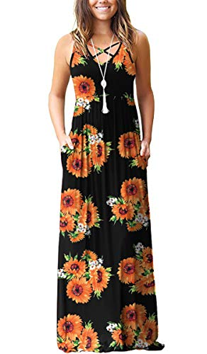 LILBETTER Women's Casual Loose Long Dress Sleeveless Floral Print Maxi Dresses with Pockets(M, Sun Flower (Flower Print Maxi Dress)