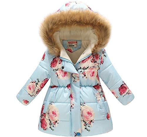 - Miss Bei Girl's Kids Toddler Winter Flower Print Parka Outwear Warm Cotton Coat Hooded Jacket Blue Pink flower150