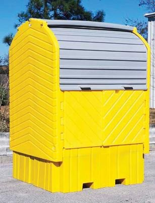 "UltraTech 64 1/2"" X 62"" X 96"" Ultra-IBC Hard Top® Yellow Polyethylene Spill Pallet With 360 Gallon Spill Capacity And Drain"