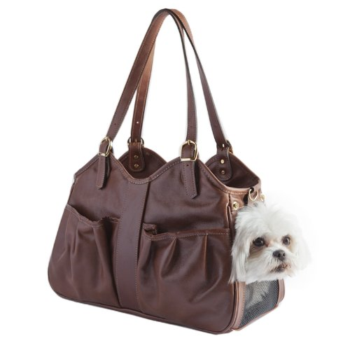 Petote Metro Couture Leather Dog Carrier, Toffee, ()