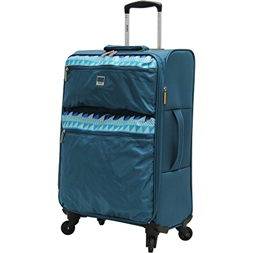 Lucas Luggage Ultra Lightweight Softside 24 inch Expandable Suitcase With Spinner Wheels (24in, Teal)
