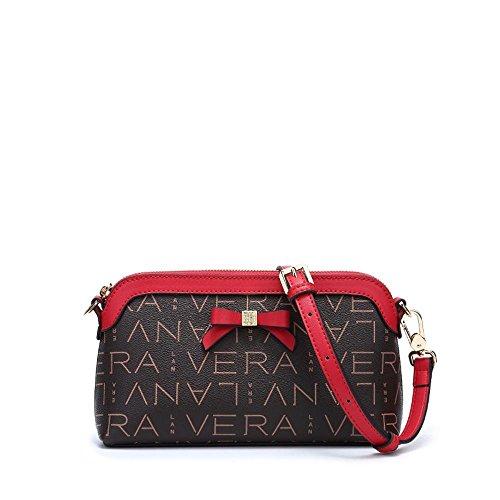 Axiba Bolsa de Mujer PVC con Paquete palmo Oblicua Simple Moda de Hombro Solo Cuero Rojo