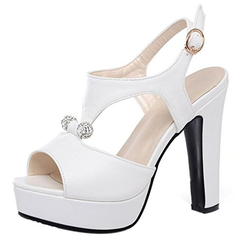 RAZAMAZA Mujer Peep Toe Sandalias De Fiesta Moda Plataforma Tacon Alto Slingback Zapatos De Hebilla Blanco