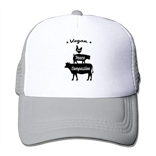 Men Women Mesh Back Core Baseball Cap Love, Peace, Compassion Snapback Hat ()