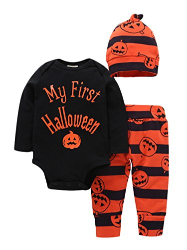 Baby Boy Halloween (Baby Boy Girl Long Sleeve Letter My First Halloween Rompers+Pants+Hat Outfit size 12-18 Months (Pumpkin))