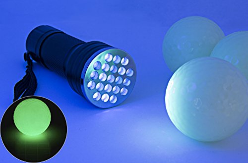Night Golf Ball Glow in the Dark - Fluorescent Luminous Balls Rechargeable with Sunlight or UV Flashlight - Included