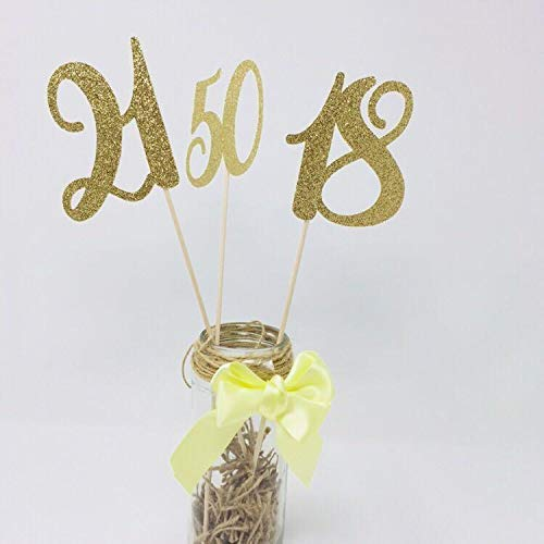 Decorative Personalised Any Age Number Centrepiece for Birthday Decoration, SET OF 3. 30th 40th 50th 70th 80th 90th Centerpieces
