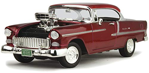 Chevrolet 1955 Bel Air Burgundy With Blower Timeless Classics 1/18 by Motormax 79002