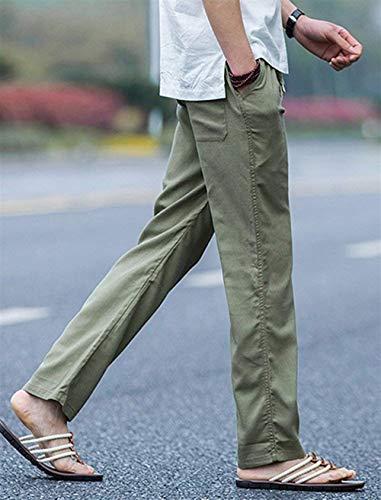 Cintura Otoño Haidean Casuales Con Lino Y Los Modernas Pantalones Primavera Cordón Color Hombres Grün Playa Elástica Sólido De Casual B7qnZrwB