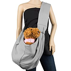 Cue Cue Pet's 100% Plush Cotton Reversible Pet Sling Carrier [Ash Grey] Suitable for Small to Medium Sized Dogs, Cats, Rabbits, Pet's