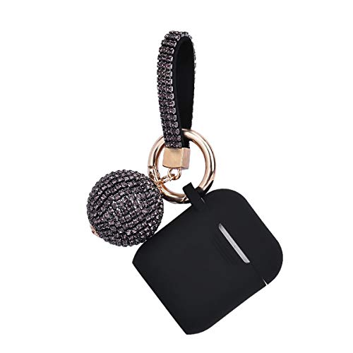 Apple Airpods Case Keychain, Filoto Airpods Silicone Glittery Case, Scratch Proof and Drop Proof Air Pods Protective Cover Skin with Shiny Ball Key Chain (Black)