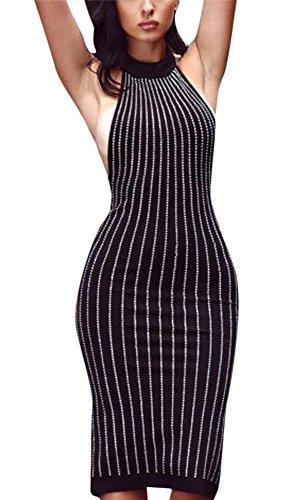 Gamery Women's Halter Sleeveless Beaded Bodycon Party Midi Dress Clubwear Large (Halter Clubwear Party Dress)