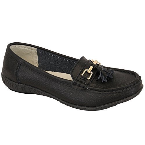 Ladies Womens Loafers Slip On Flat Tassel Moccasins Leather Shoes Black - Nautical s9jcu