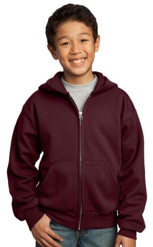 Port & Company Boys' Full Zip Hooded Sweatshirt L Maroon by PORT AND COMPANY