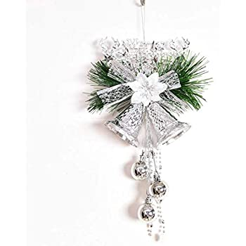 Holiday Bells Door Hanging Jingle Decorations Red, Silver and Gold Glitter Finish 3 Pack