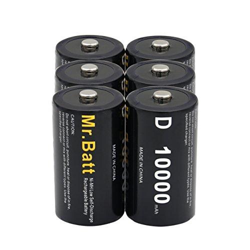 Mr.Batt D Cell Rechargeable Batteries NiMh D Size 1.2V 10000mAh High Capacity (6 Pack)