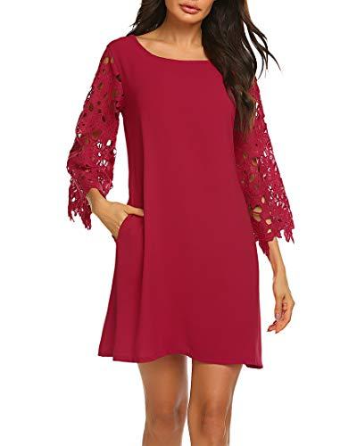 Chiffon Tunic Dress - Womens Lace Crochet Ruffle Half Sleeve Party Chiffon Tunic Dress with Pockets (XXL, 03 Burgundy)