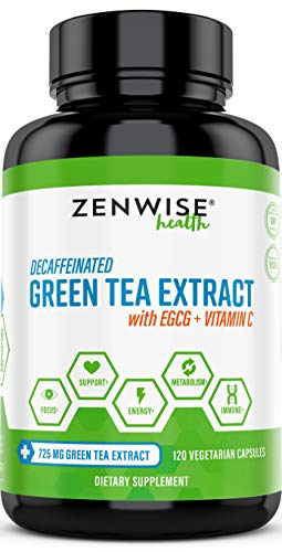 Green Tea Extract Supplement with EGCG & Vitamin C - Antioxidants & Polyphenols for Immune System - For Weight Support & Energy - Decaffeinated Pills for Brain & Heart Health (Herbal Supplements Immune System)