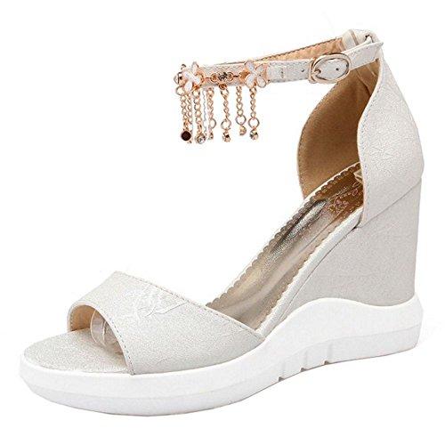 COOLCEPT Zapato Mujer Moda Cadenas Punta Abierta Peep Toe High Plataforma Verano Tacon de Cuna Sandalias Blanco