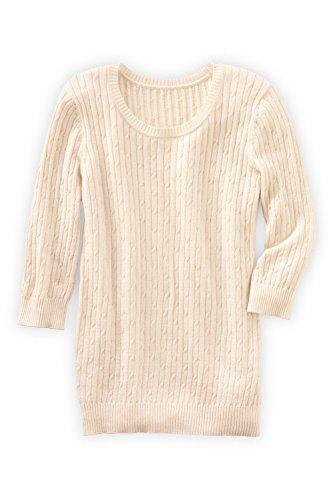 Fair Indigo Fair Trade Organic 3/4-sleeve Cable Crew Sweater (S, Vanilla) - Organic Cotton Cable Sweater