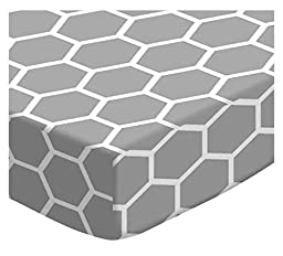 SheetWorld Fitted Bassinet Sheet - Grey Honeycomb - Made In USA