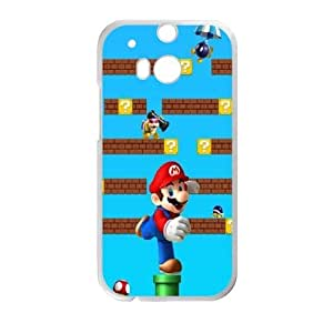Durable Hard cover Customized TPU case Super Mario HTC One M8 Cell Phone Case White