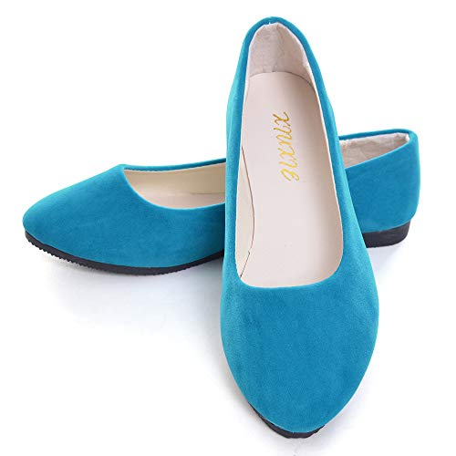 Dear Time Women Flat Shoes Comfortable Slip on Pointed Toe Ballet Flats US 8.5 Sky Blue