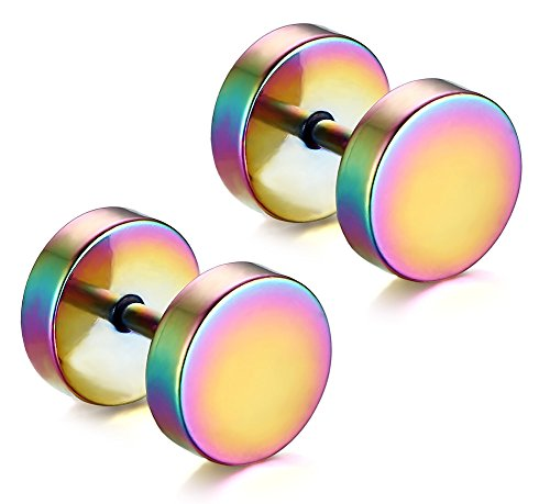 UNAPHYO Jewelry A Pair 8mm Men's Stud Earring Illusion Tunnel Plug Screw Back in Stainless Steel, - Chain Earrings 24k