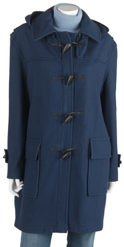 Burberry Women's Full Length Wool Duffle Coat with Hood, Navy , Size  38