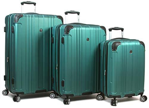 Dejuno 25DJ-668-TURQUOISE Kingsley Hardside Spinner Luggage Set with TSA Lock44; Turquoise – 3 Piece