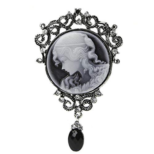 Simdoc Elegant Women Vintage Victorian Cameo Brooch Pin Pendant
