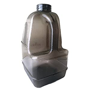 "1 Gallon BPA FREE FDA Approved Reusable Plastic Drinking Square Water Big Mouth ""Dairy"" Bottle Jug Container with Handle Holder - Made in USA (Grey)"