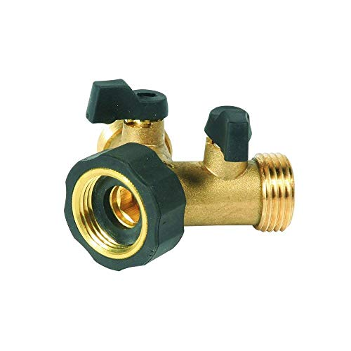 Camco Stainless Steel Solid Brass Water 45 Degree Valve- Easy Grip Valve Handles and Simple Water Hose Connection CSA Low Lead Certified - (20173) ()
