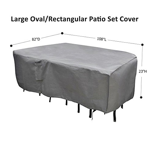 M&H Heavy Duty Waterproof Large Patio Set Cover - Outdoor Furniture Cover with Padded Handles and Durable Hem Cord - Fits Large Oval or Rectangular Table with Chairs, 108 x 82 inch, Taupe