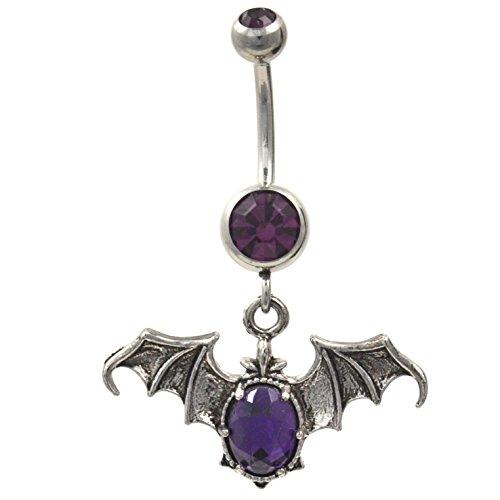Gothic Style Purple Gemmed Vampire Bat Dangle Belly Ring 14G Navel Jewelry Bat Dangle Belly Ring