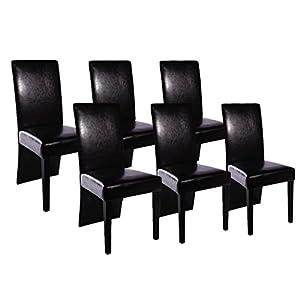 Ordinaire VidaXL Chaise De Salle à Manger 6 Pcs Cuir Artificiel Noir   Belles Chaises