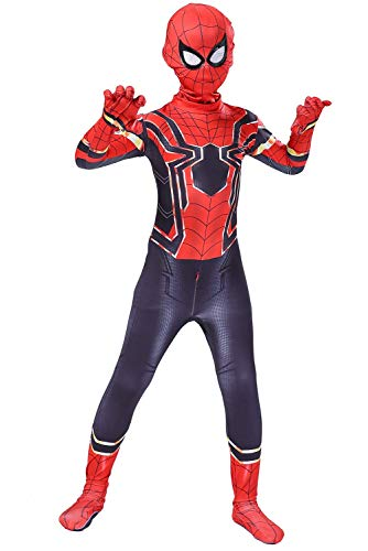 (Toddler Kids Spider Verse Miles Morales Far from Home Peter Parker Jumpsuit Bodysuit Black Spider Tights Zentai Costume (Child M/110-120CM, Iron)